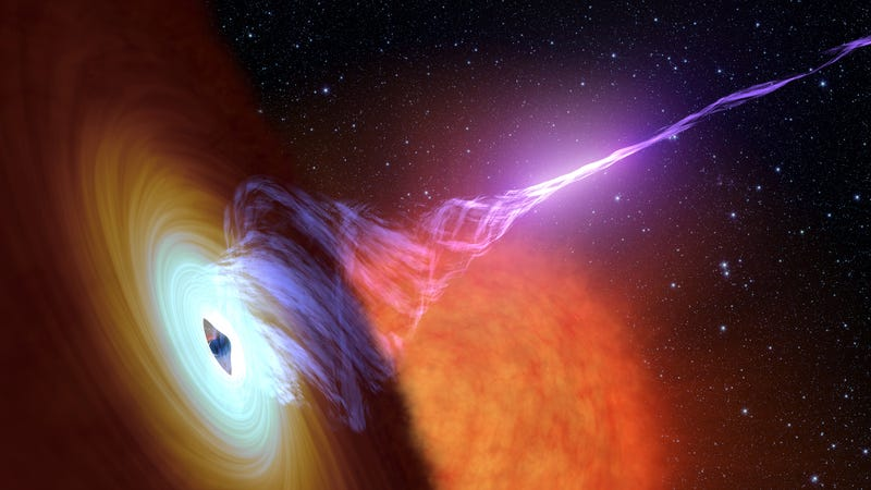 An artist's conception of a black hole shooting a jet of plasma