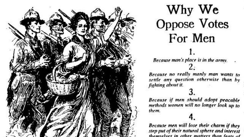 Illustration for article titled Feminist Satire From 1915 Declares That Men Are Too Emotional To Vote