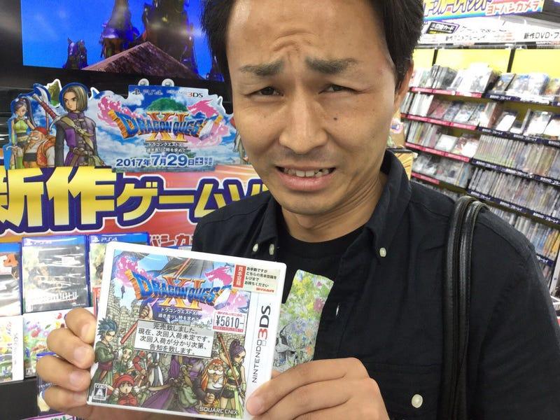 "The tag on the game reads ""完売致しました"" (""Kanbai itashimashita"") or ""Sold out."" [Image: bakucome_deli]"