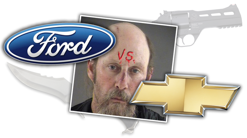 Illustration for article titled Ford vs. Chevy Debate Finally Settled with Knives and Guns