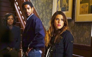 Viola Davis as Annalise Keating, Alfred Enoch as Wes Gibbons and Karla Souza as Laurel Castillo in How to Get Away With MurderABC