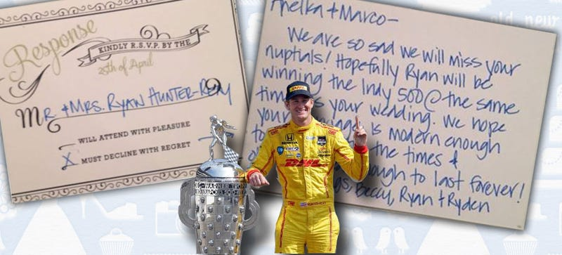 Illustration for article titled Indy 500 Winner Gives Most Prophetic Excuse Ever For Skipping Wedding