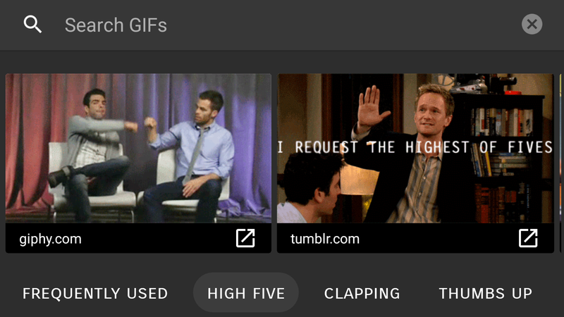 Illustration for article titled Android 7.1's Keyboard Is Hiding a Handy New GIF Search Tool