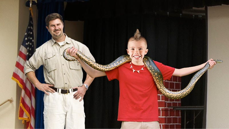 Illustration for article titled Catastrophic Misstep: The Reptile Guy At This School Assembly Just Handed A Huge Snake To The Most Straight-Up Insane Kid In Fifth Grade