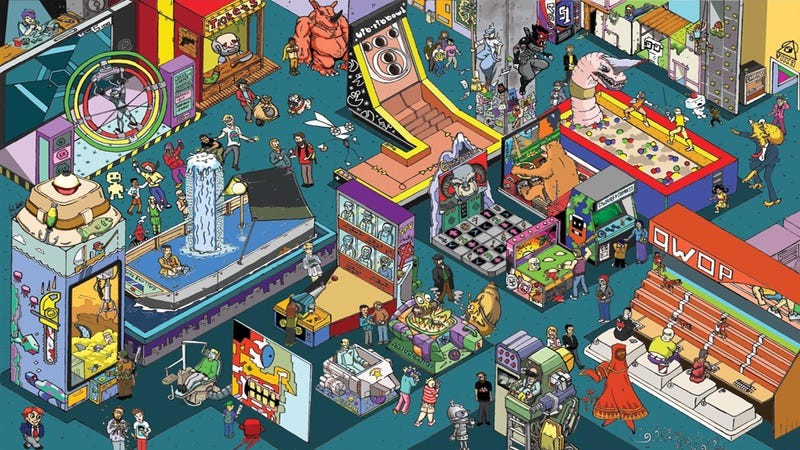 Illustration for article titled There Are 31 Video Games in This Fantasy Arcade. Can You Name Them?