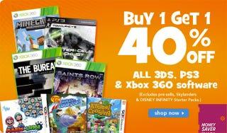 Illustration for article titled Moneysaver: Buy One Get One 40% Off GTAV, Titanfall, Destiny, More