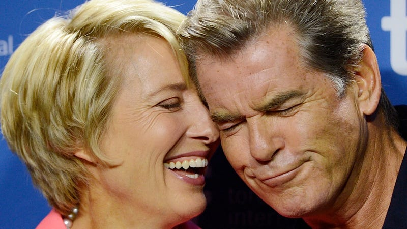 Illustration for article titled Emma Thompson and Pierce Brosnan Promote Their New Movie with Snuggles