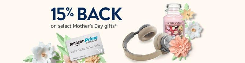 Devolución del 15% en regalos para el Día de la Madre con la tarjeta Amazon Prime Store