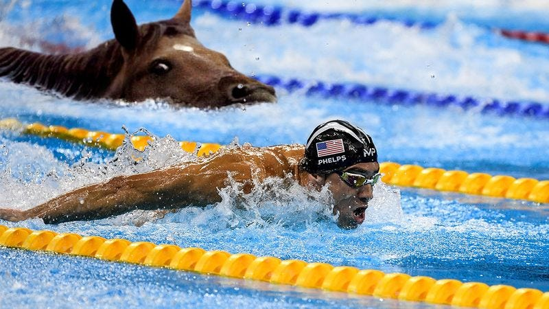 Michael Phelps swimming against a horse.