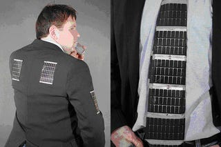 Illustration for article titled Solar Powered Neck Tie Holds, Powers Your Gadgets