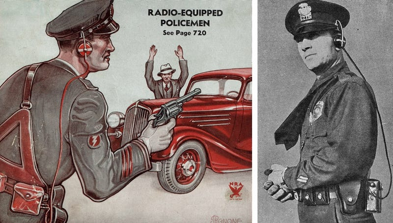 Illustration for article titled This Was the Radio-Equipped Policeman of the Future in 1934