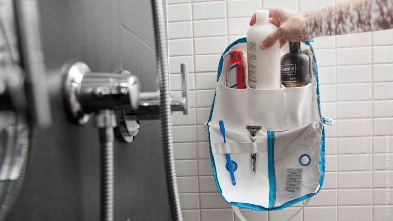 Illustration for article titled Genius Suction Cup Shower Bag Makes Dorm Bathrooms Infinitely Less Gross