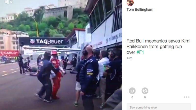 Illustration for article titled Red Bull Mechanic Saves Kimi Raikkonen From Being F1 Roadkill