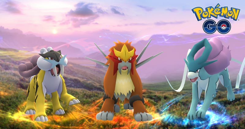 Illustration for article titled Pokémon Go's Next Legendaries, Raikou, Entei, and Suicune, Start Appearing Today