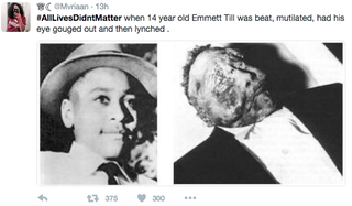 Tweet sent as part of #AllLivesDidntMatterTwitter