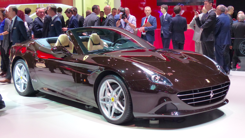 "A Ferrari California T introduced as ""The McQueen"" at the Paris Motor Show in 2016."