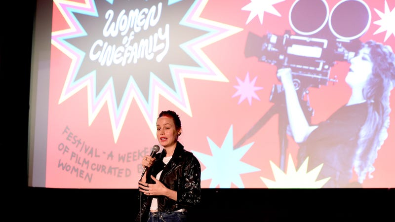 Brie Larson speaking at a Women of Cinefamily event / Image via Getty