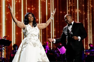 Aretha Franklin performs during the 2017 Tribeca Film Festival Opening Gala premiere of Clive Davis: The Soundtrack of Our Lives at Radio City Music Hall in New York City on April 19, 2017. (Taylor Hill/Getty Images)