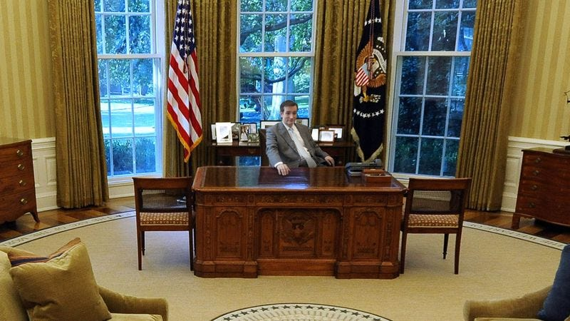Sitting at his desk in the Oval Office, President Ted Cruz warmly remembers the fateful Obamacare speech he delivered in 2013.
