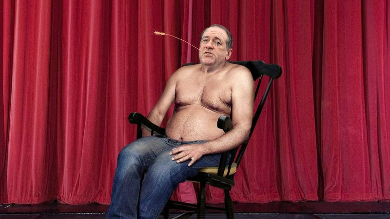 Illustration for article titled Shirtless Mike Huckabee Spends Entire Debate Seated In Rickety Rocking Chair