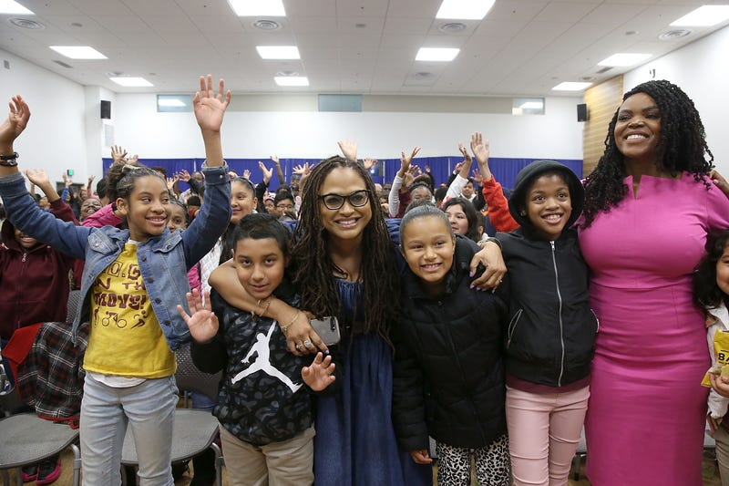 Director Ava DuVernay (center) and Compton, Calif., Mayor Aja Brown (right) attend a special advance private screening of A Wrinkle in Time attended by students from various middle schools around the city on March 2, 2018, in Compton.