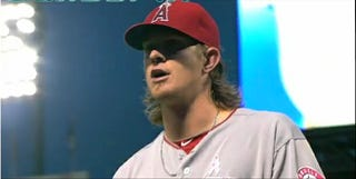 """Illustration for article titled Jered Weaver Sings Along To """"Hit The Road Jack"""" After Being Pulled From Game"""