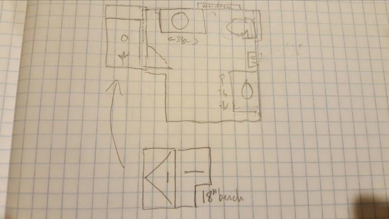 Illustration for article titled Bathroom remodel doodle.