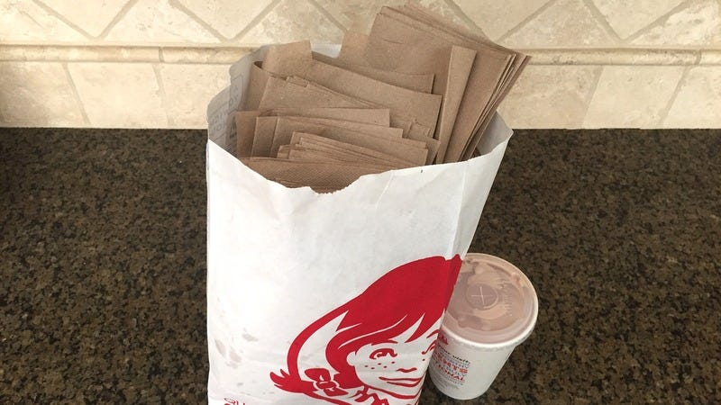 A Wendy's bag stuffed with napkins.