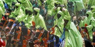 Horse riders at Shehu Kangiwa Square (Pius Utomi Ekpei/AFP/Getty Images)