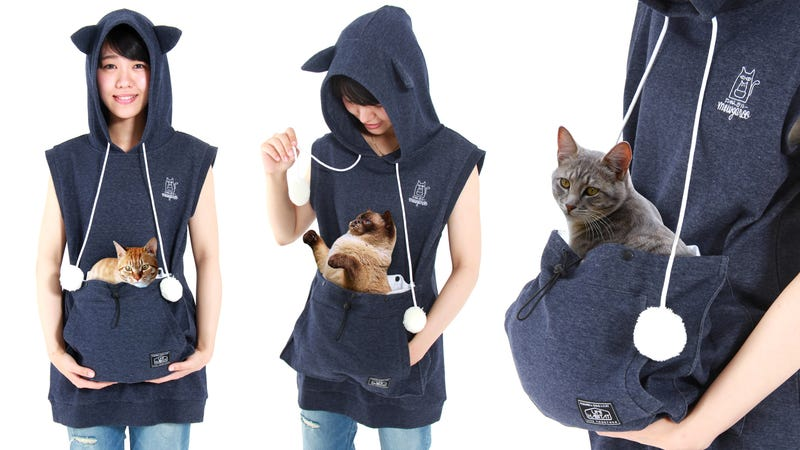 Embrace Your Inner Crazy Cat Person With This KittyCarrying Hoodie - Hoodie with kangaroo pouch is the perfect cat accessory