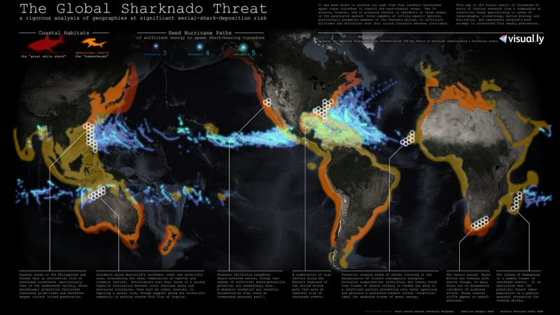 Illustration for article titled No, but seriously. If sharknadoes were real, where would they strike?