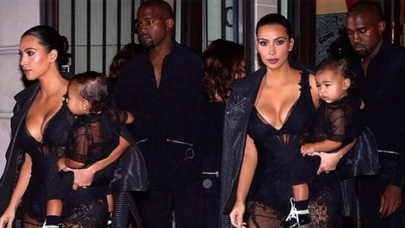 Illustration for article titled Kim Kardashian and North West Attend Givenchy In Matching Sheer Outfits