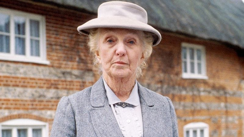Joan Hickson as Miss Marple, prior to her latest Time Lord regeneration.