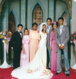 Ralph Carter, Janet Jackson, Esther Rolle, BernNadette Stanis, Ben Powers,Ja'net DuBois and Jimmie Walker inGood Times (1974)iMDB.com