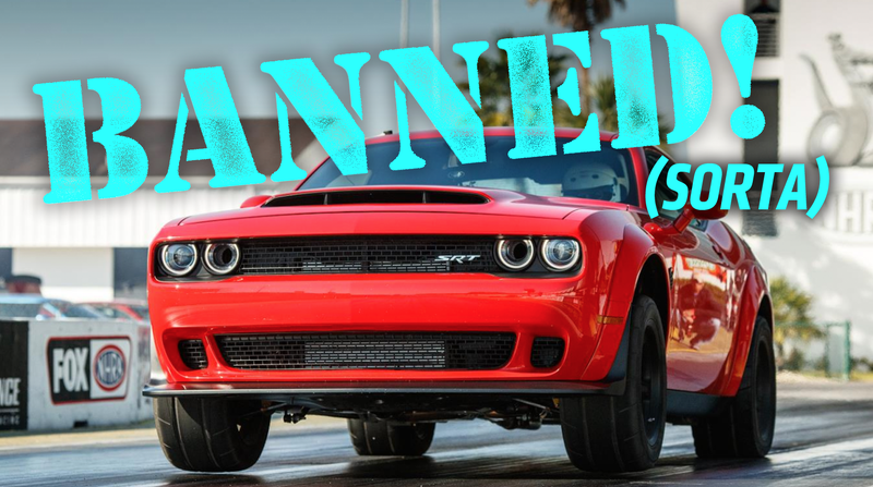 Illustration for article titled Here's Why The Dodge Challenger SRT Demon Is Banned By The NHRA But Not Really