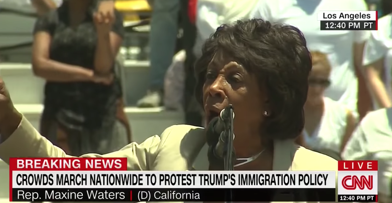Maxine Waters addressed death threats during a rousing speech at the 'Families Belong Together' rally in Los Angeles, Calif., on June 30, 2018.