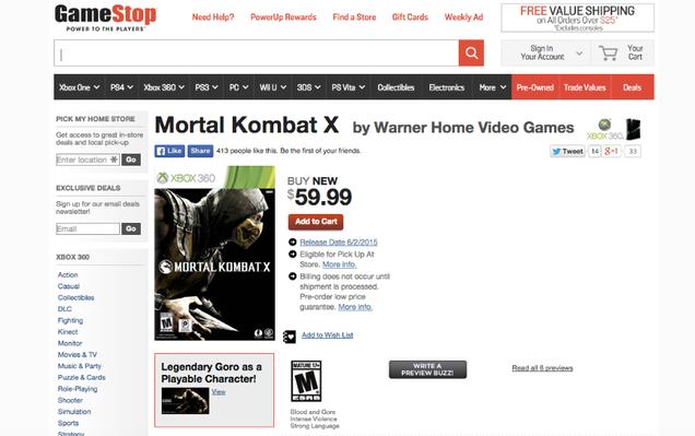 mortal kombat x xbox 360 gamestop