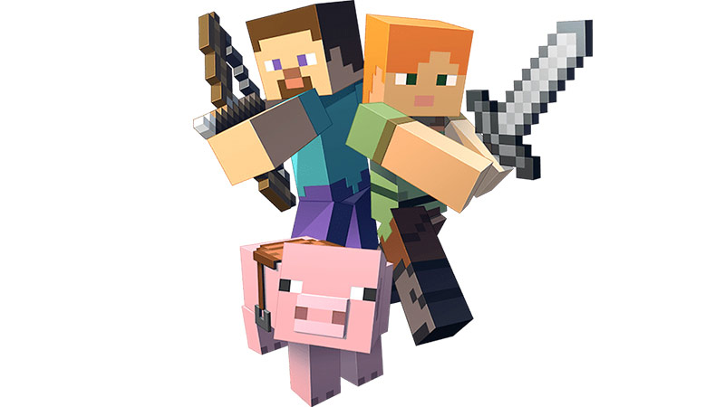 The heroes and pigs of Minecraft.