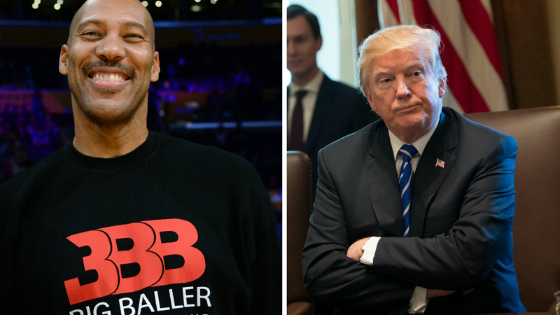 LaVar Ball (Kevork S. Djansezian/Getty Images); Donald Trump (Pool/Getty Images)