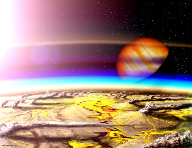 Artist impression of a habitable planet in the volcanic Hydrogen habitable Zone. Image: W. Henning, NASA Goddard