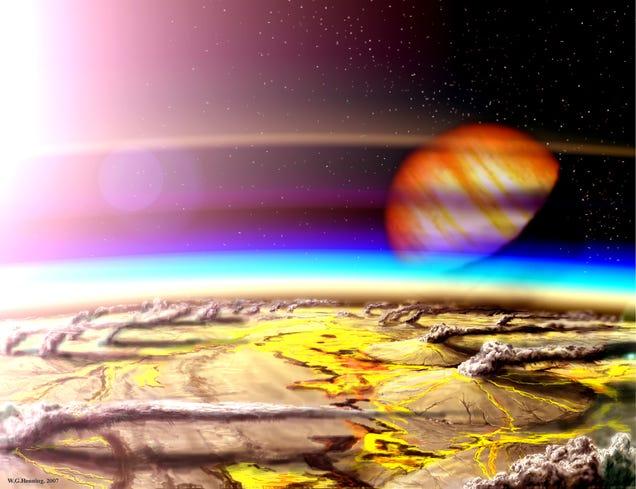 Artist impression of a habitable planet in the volcanic Hydrogen habitable Zone. Image: W. Henning, NASA Goddard