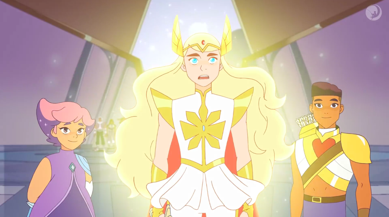 Glimmer, She-Ra, and Bow.