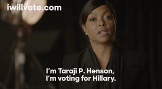 Taraji P. Henson in ad supporting presidential candidacy of Hillary Clinton YouTube Screenshot