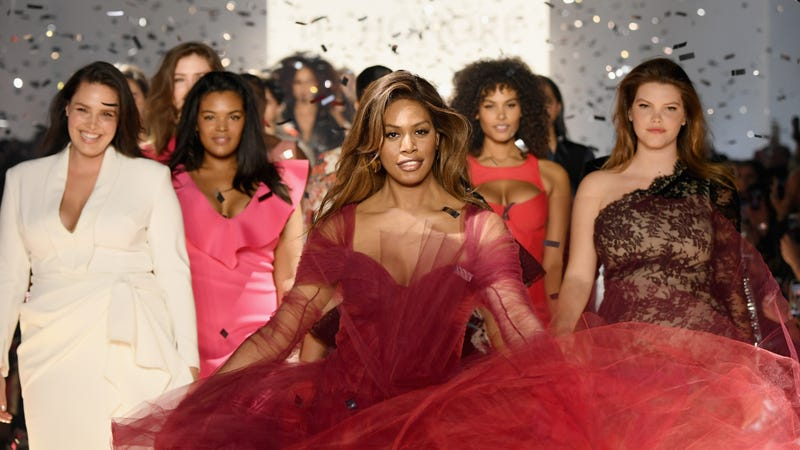 Laverne Cox (C) walks the runway for the 11 Honore fashion show finale during New York Fashion Week: The Shows at Gallery I at Spring Studios on February 6, 2019 in New York City.