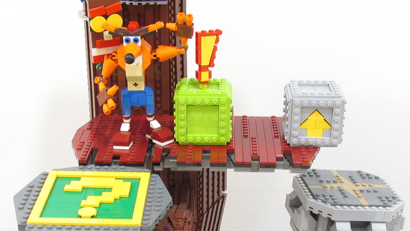 Illustration for article titled LEGO Diorama Is The Perfect Homage To Crash Bandicoot