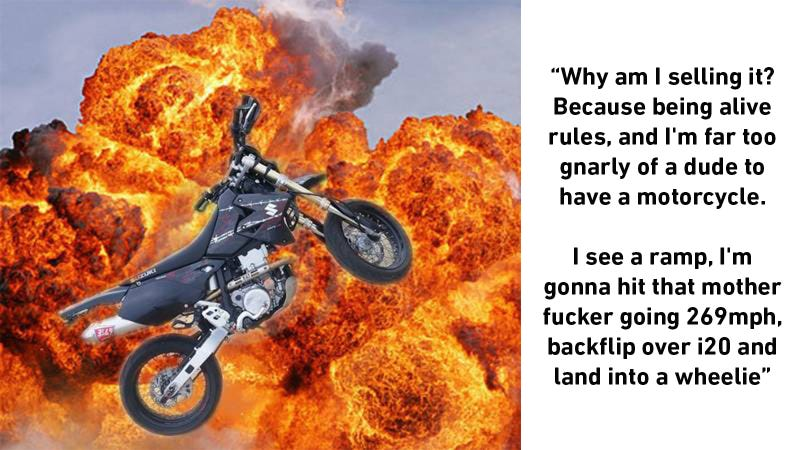 Illustration for article titled Buy This Craigslist Suzuki Supermoto Because It's A Great Bike And A Better Ad