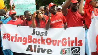 Members of civil-society groups shout slogans to protest the abduction of Chibok, Nigeria, schoolgirls during a rally pressing for the girls' release in Abuja May 6, 2014, ahead of World Economic Forum. PIUS UTOMI EKPEI/AFP/Getty Images