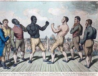 The battle between Cribb and Molineaux, hand-colored engraving.Public domain