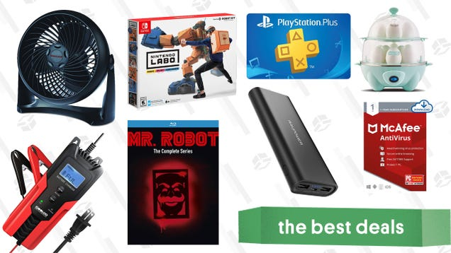 Thursday s Best Deals: PlayStation Plus, Honeywell Fan, Nintendo Labo Toy-Con Kits, 6V/12V Car Battery Charger, Mr. Robot Blu-Ray, and More