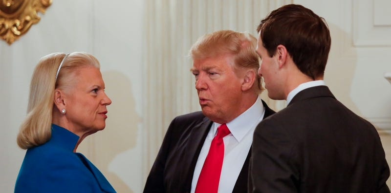 IBM CEO Ginni Rometty speaks with President Donald Trump and nepotism hire Jared Kushner (Photo Credit: Aude Guerrucci / Pool via CNP /MediaPunch/IPX)